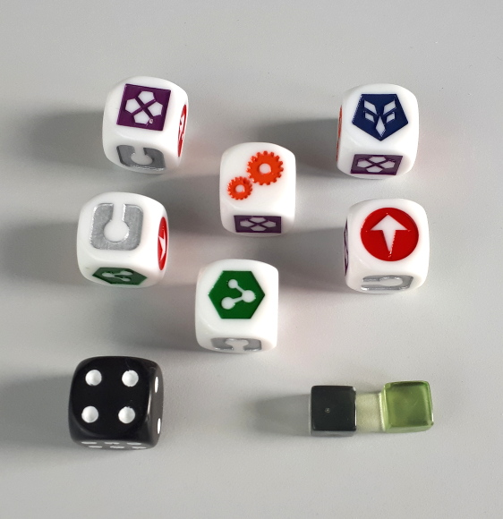 Deep Space D-6 dice and markers